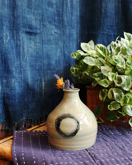Subdued Green with Indigo Circle Mark, Vase