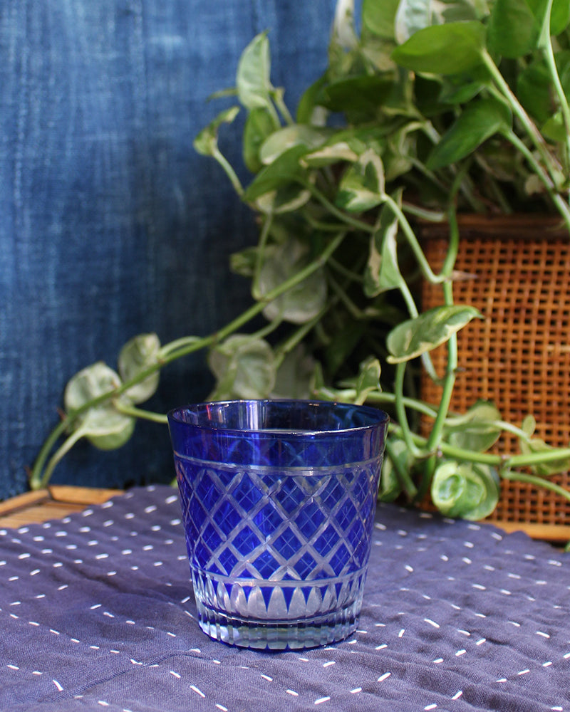 Edo Kiriko Glass Cup, Blue