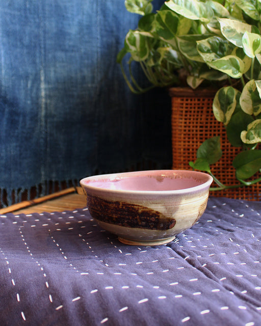 Ceramic Bowls, Pink Glazed Inside