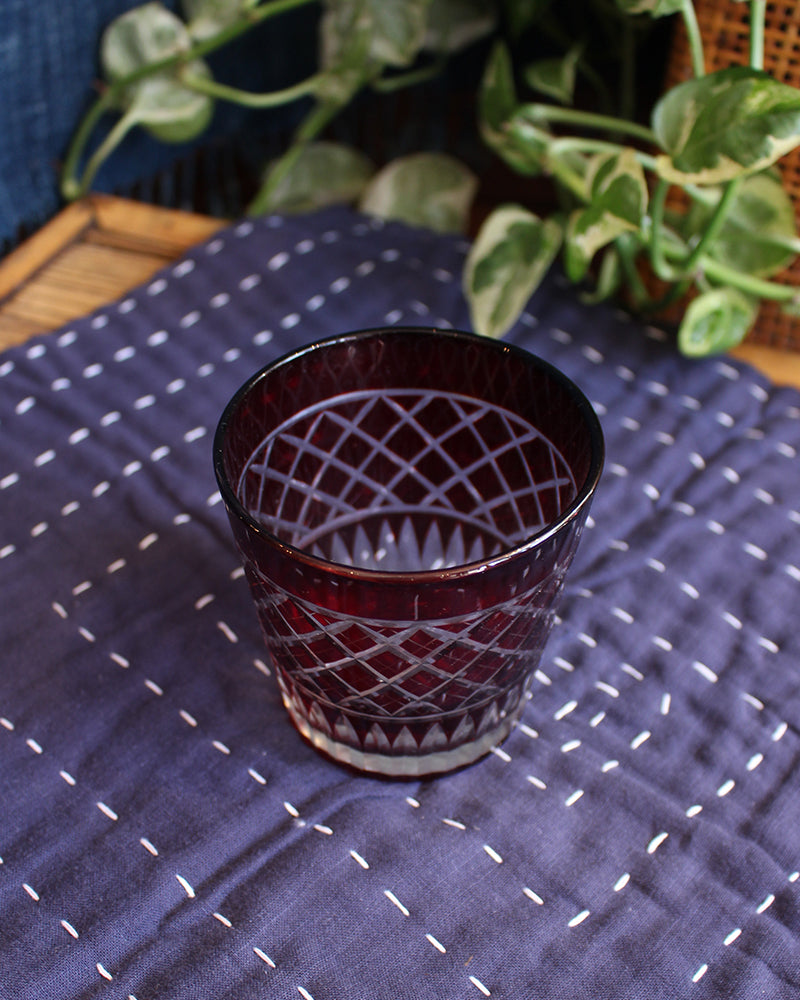 Edo Kiriko Glass Cup, Red