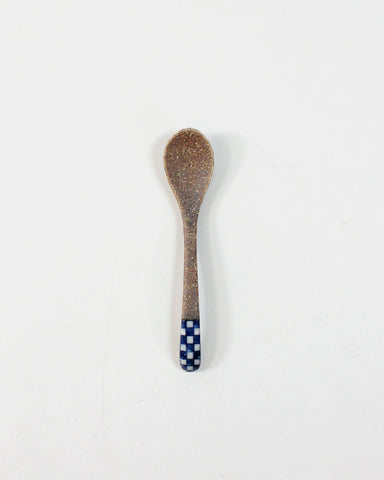 Mashiko-Yaki Hand-Painted Spoon, Checkered