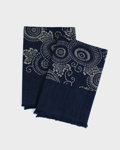 Tea Towel Small, Indigo Kiku
