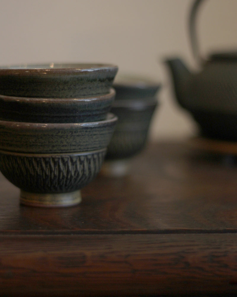 Kasama-Yaki Textured Pattern Tea Cup Set of 5