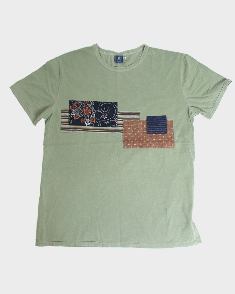 Patched Boro Tee, Olive, with Shima and Karakusa