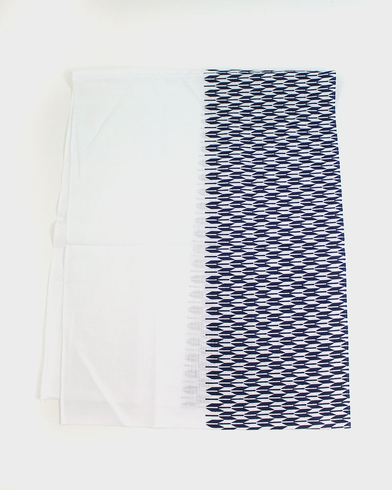 Tenugui, White And Navy Yagasuri