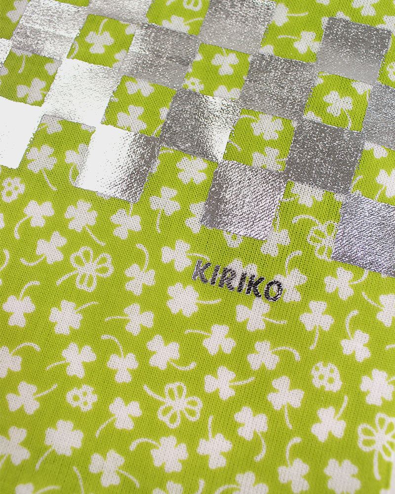 Tenugui, Green Clovers With Silver Checkered Details