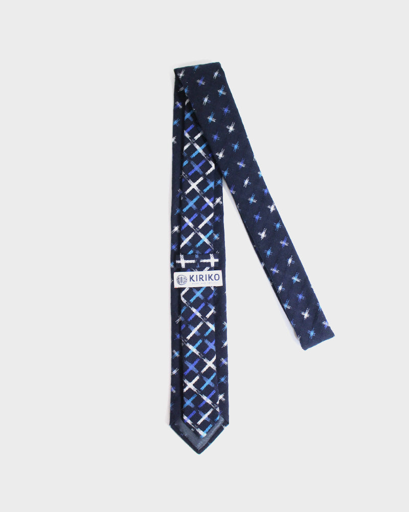 Tie Kasuri Indigo, White and Blue Jyuji