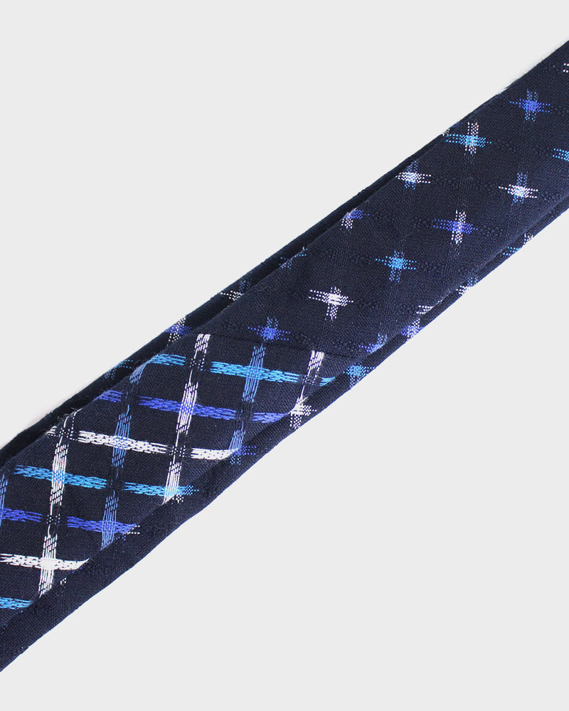 Kasuri Indigo Tie, White and Blue Jyuji