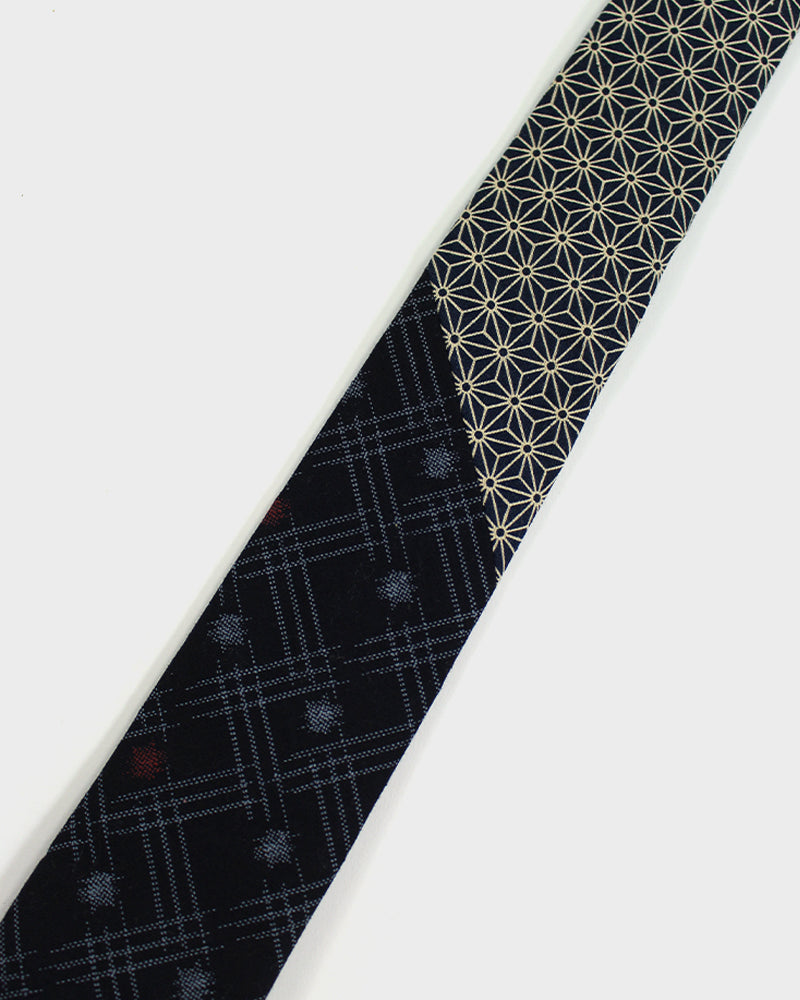 Tie, Cream and Indigo Asanoha and Kasuri Dot