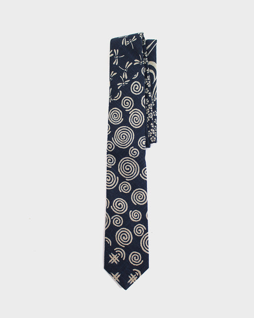 Multi Indigo Tie, Swirl and Tonbo