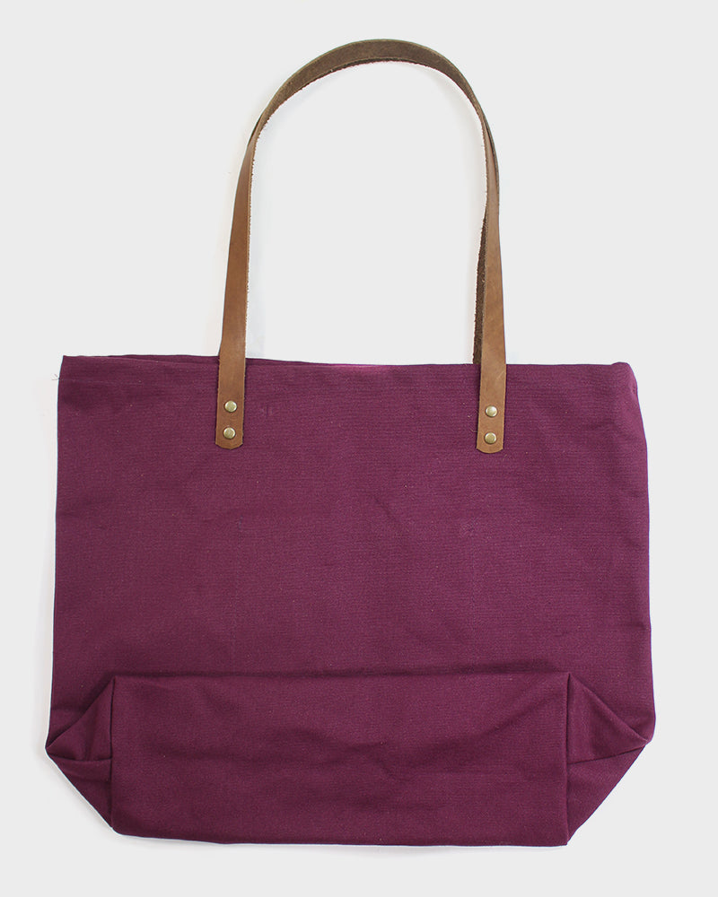 Kiriko Large Canvas Tote, Burgundy