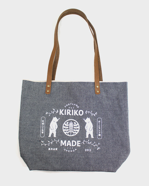 Kiriko Bear Large Denim Tote, Chambray