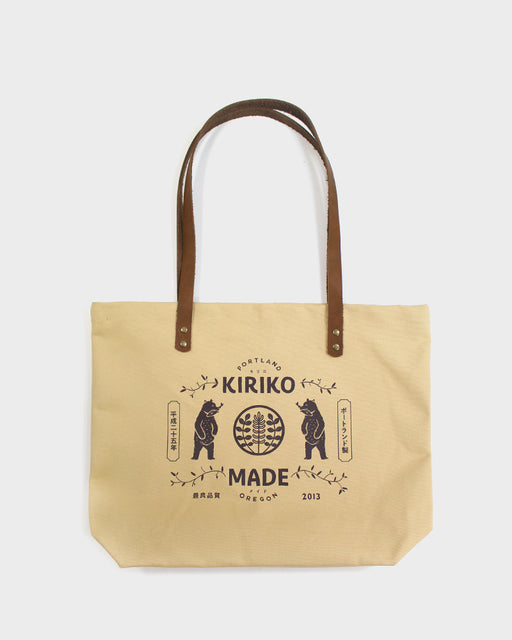 Kiriko Bear Large Canvas Tote, Natural