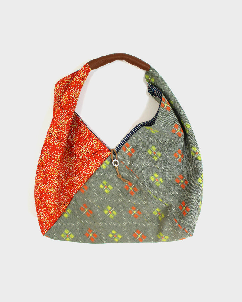 Tsuno Purse, Grey Orange and Green Kasuri and Orange Trees