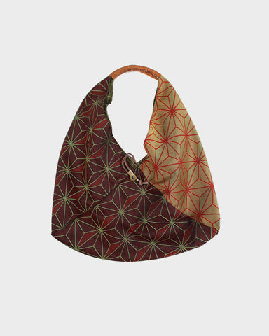Tsuno Purse, Burgundy and Gold Asanoha