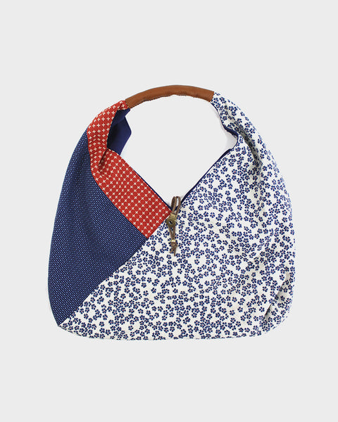 Tsuno Purse, White with Blue Sakura, Red Sashiko Cross and Blue