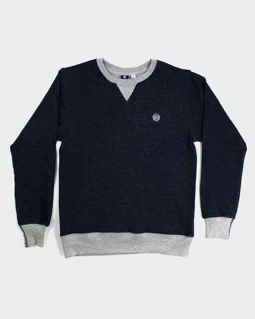 Two-Tone Crewneck Kiriko Logo, Blue with Gray Trim