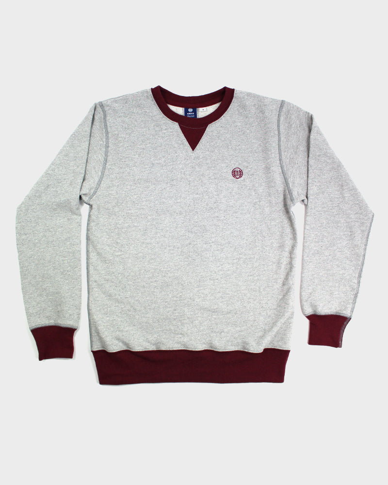 Two-Tone Crewneck Kiriko Logo, Gray with Red Trim