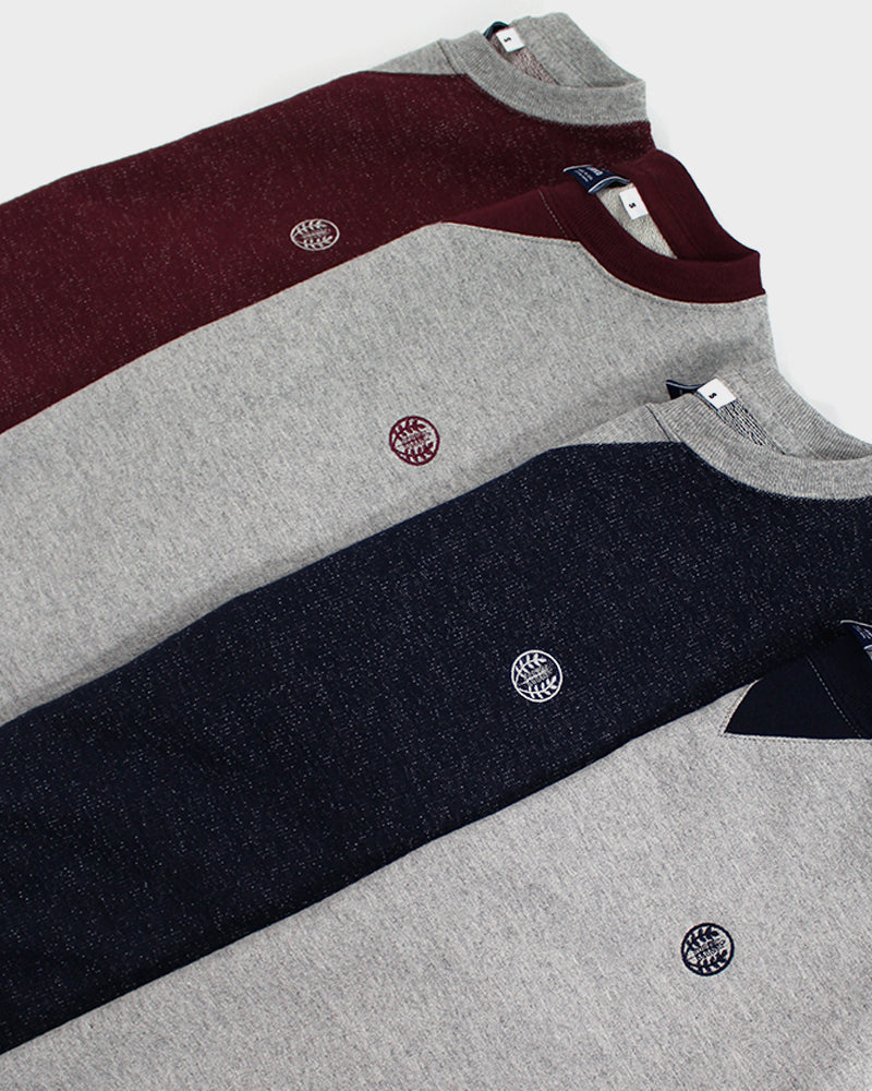 Two-Tone Crewneck Kiriko Logo, Red with Gray Trim