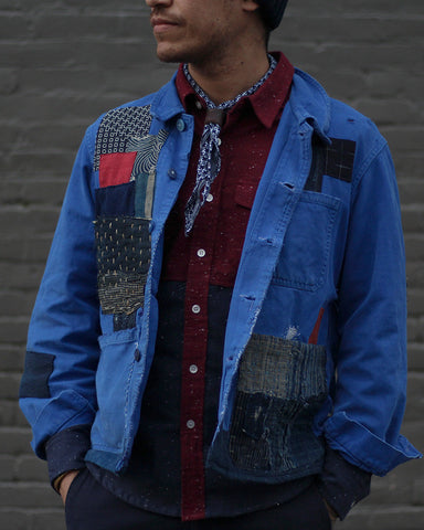 One of a Kind Boro Patched Vintage French Workman Jacket 05