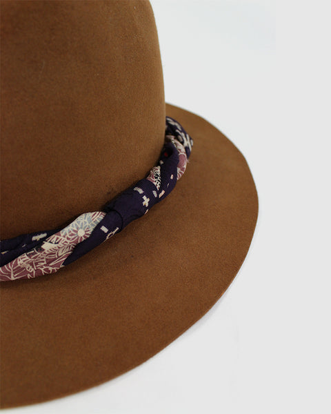 Kiriko Wool Hat, Purple Band