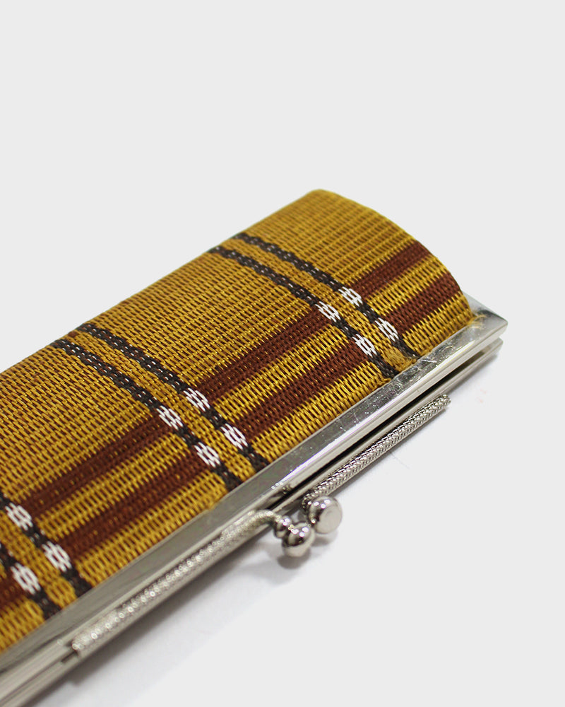 Vintage Coin Purse, Tan and Brown Plaid, Handwoven Silk