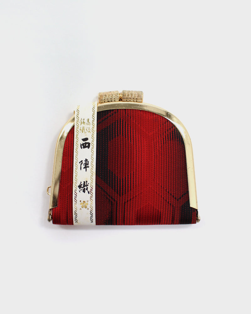 Nishijin Weave, Black and Red, Silk Coin Purse