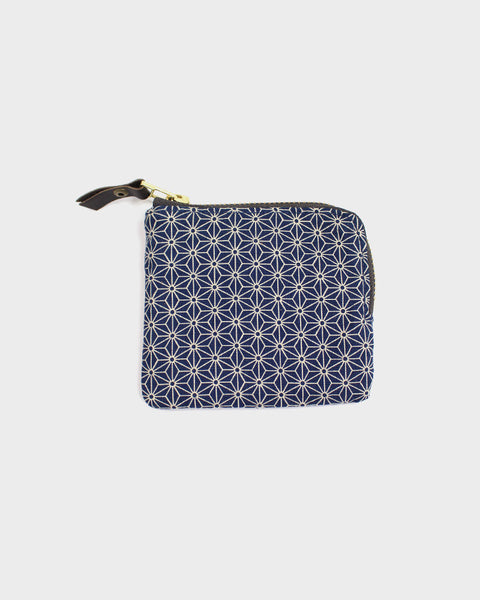 Zipper Wallet, Navy Asanoha