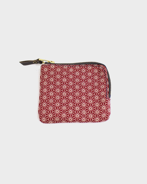 Zipper Wallet, Red Asanoha