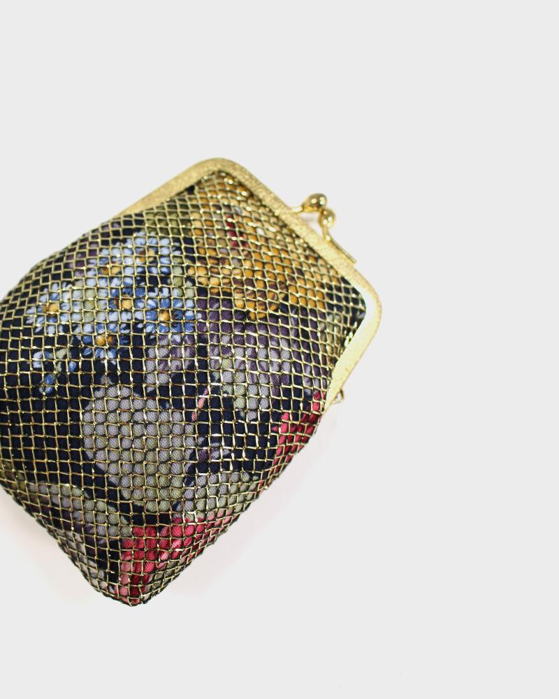Floral with Gold Netting, Coin Purse
