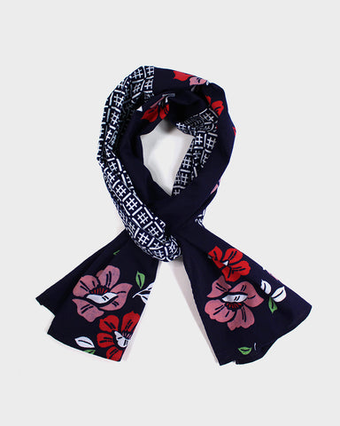 Yukata Scarf, Red and Pink Floral and Igeta