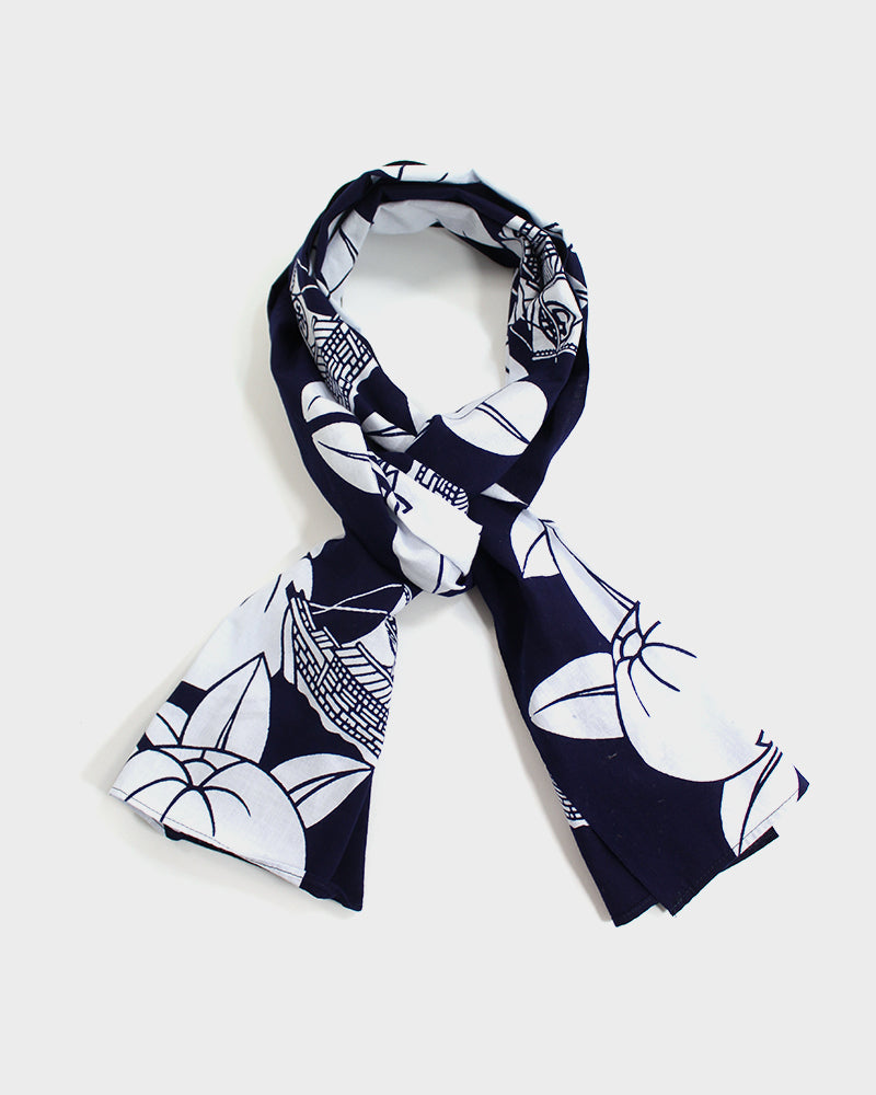 Yukata Scarf, Indigo, Boats and Persimmons