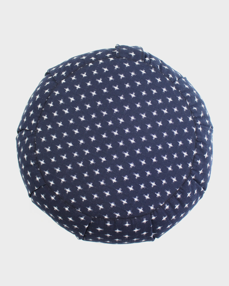 Zafu Meditation Pillow, Indigo with White Jyuji