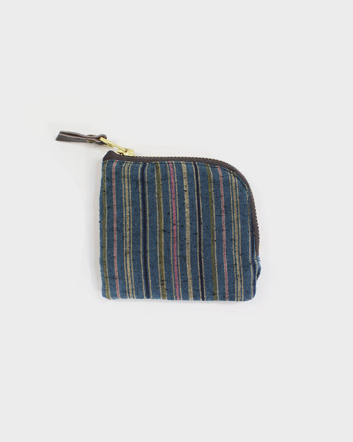 Zipper Wallet, Light Blue with Pink and Green Shima