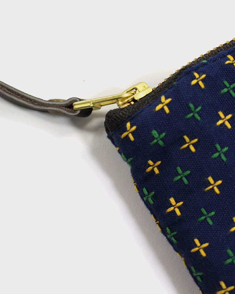 Zipper Wallet, Indigo with Green and Yellow Sashiko