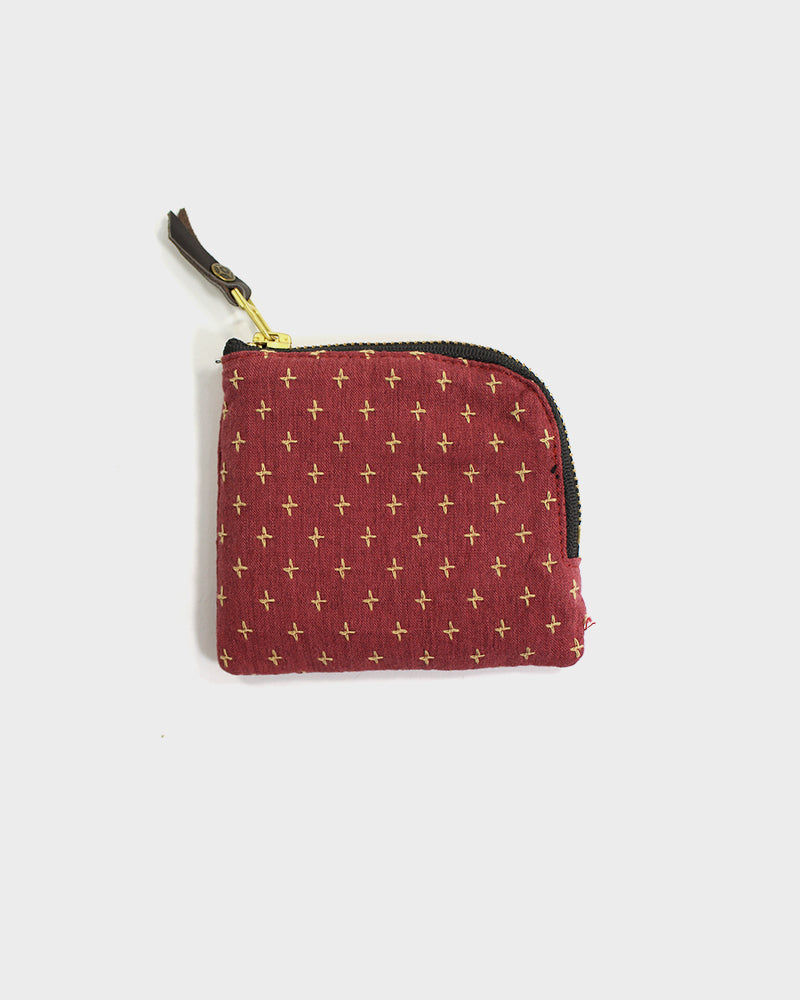 Zipper Wallet, Red with Yellow Sashiko