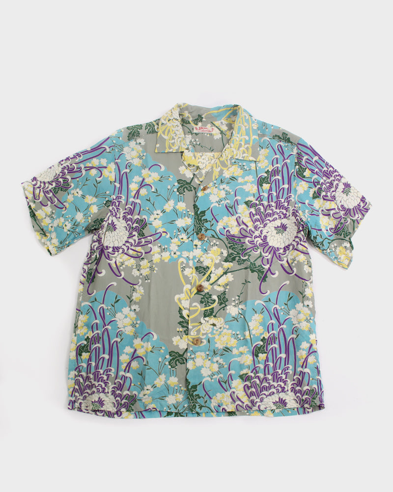 Sun Surf Aloha Shirt, Kiku, Blue, Purple and Yellow (S)