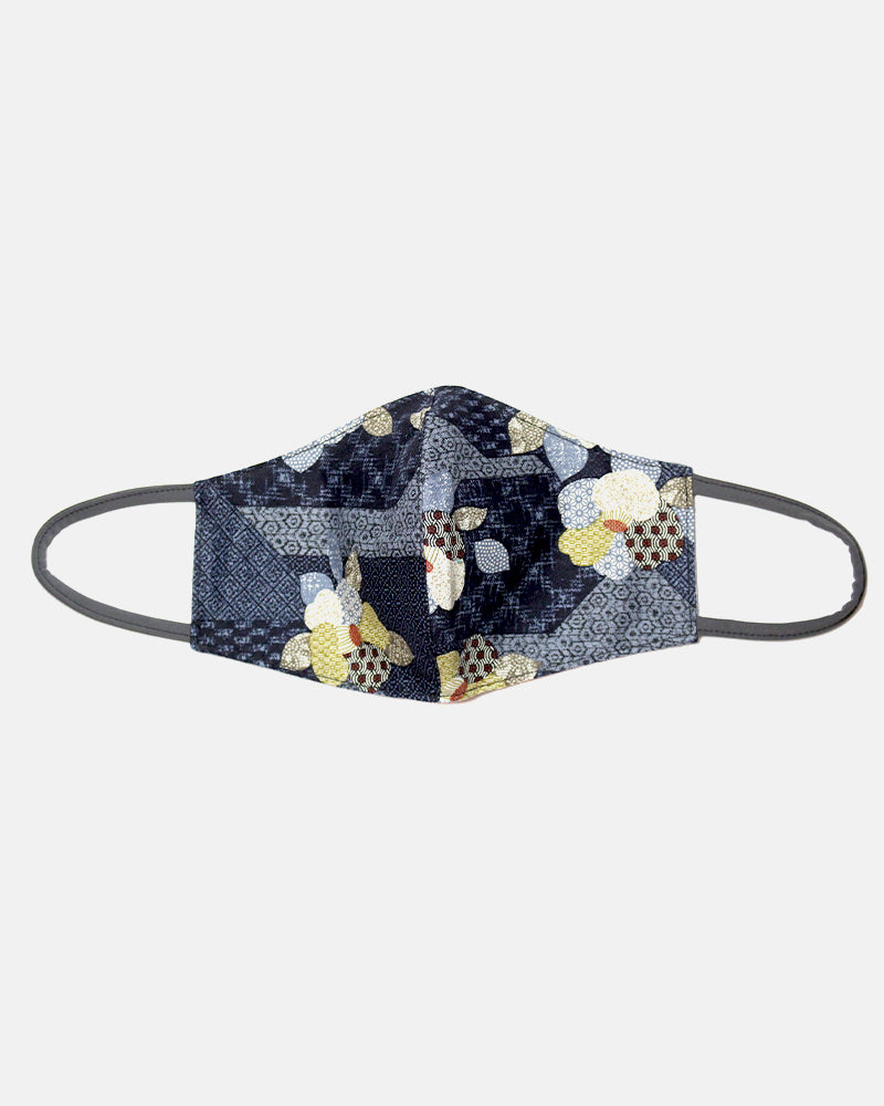 Face Mask, Indigo Quilted Patchwork Style, Flowers