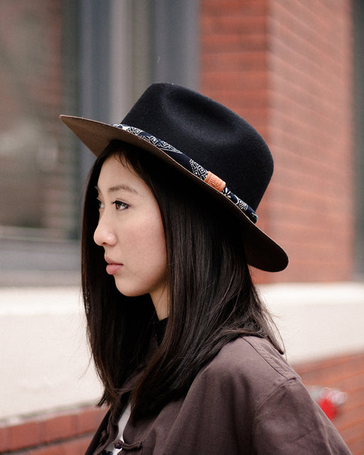 Kiriko Wool Felt Hat, Two Tone, Dark Brown and Black with Black and White Katazome