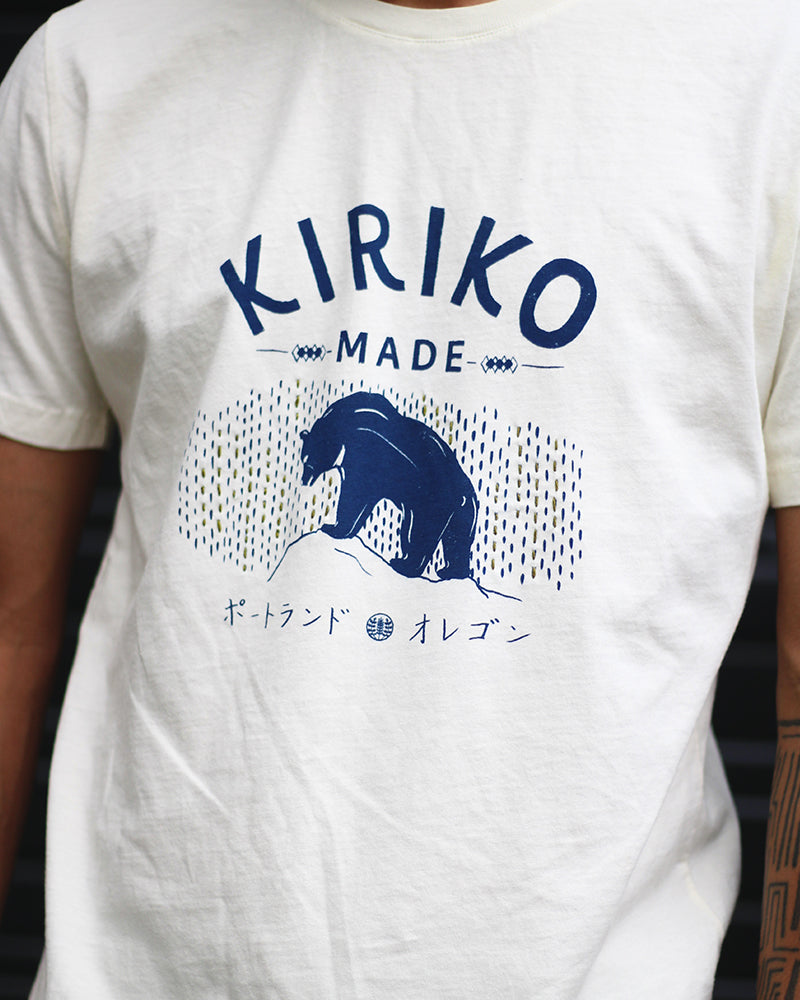 Printed Kiriko Kuma Tee with Sashiko, Cream