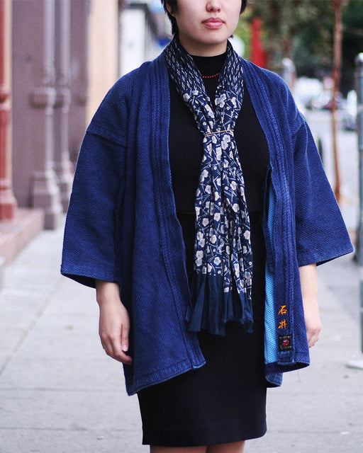 Kiji Scarf Indigo Dashes and Plum and Pine