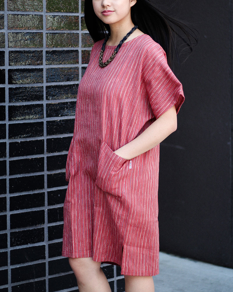 Oversized Pocket Dress, Red and Orange Shima