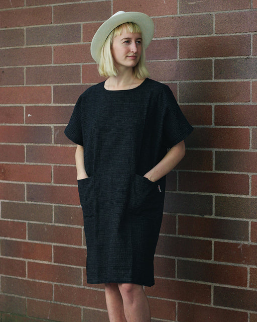 Oversized Pocket Dress, Indigo Small Grid
