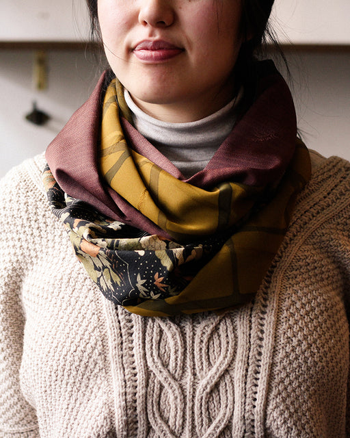 Kimono, Abstract Scenery, Olive, Black and Brown, Silk Infinity Scarf