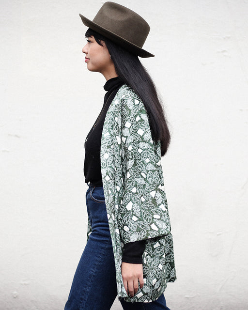 Modern Cut Shibori Haori Jacket, Green with Abstract Pattern