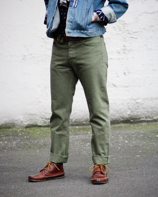 Premium Japanese Selvedge Jeans, Military Green, Mens, with Nami