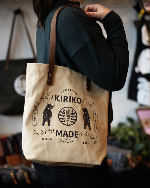 Kiriko Bear Small Canvas Tote, Natural
