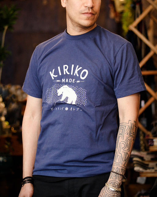 Printed Kiriko Kuma Tee, Custom-Dyed Blue