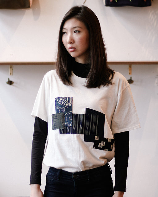 Patched Boro Tee, White, with Shima and Tsubaki