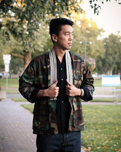 Camo Patched Military Jacket, with White Obi Collar